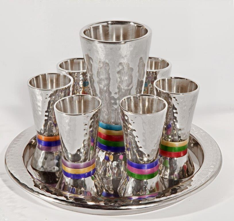 סט קידוש-6 כוסיות+כוס טבעות צבעוני 1