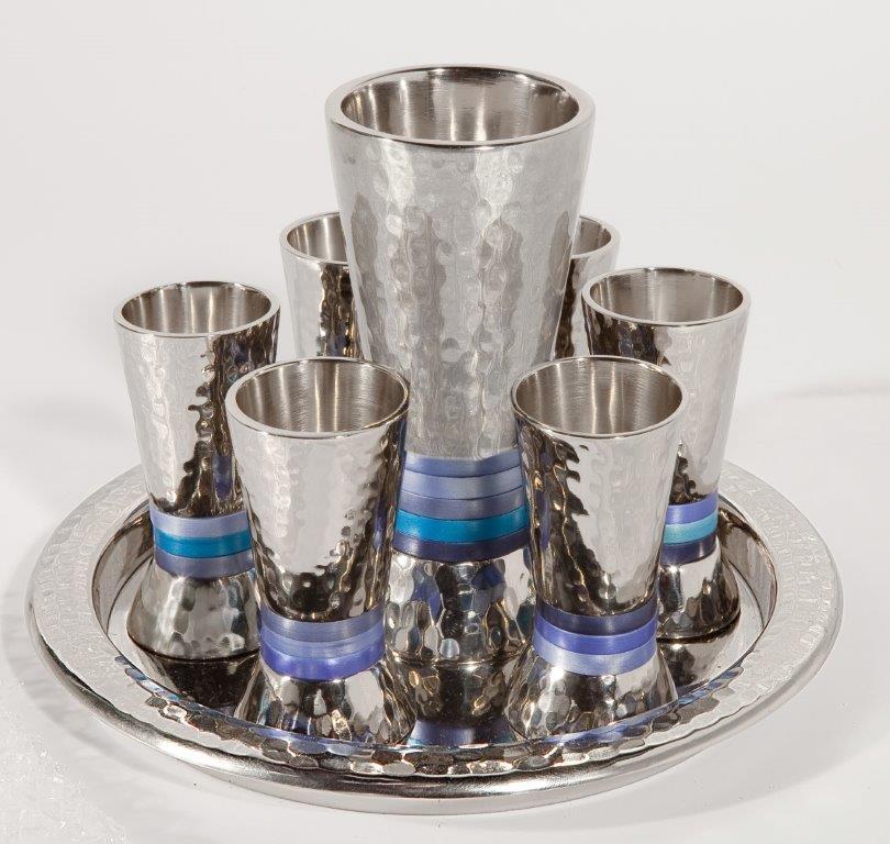 סט קידוש-6 כוסיות+כוס טבעות כחול 2